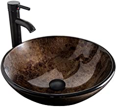 Bathroom Artistic Vessel Sink, Modern Round Tempered Glass Basin Washing Bowl, Oil Rubbed Bronze Faucet, Pop-up Drain Set