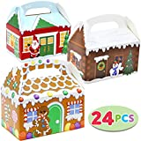 24 Pieces 3D Christmas House Cardboard Treat Boxes for Holiday Xmas Goody Gift, Goodie Paper Boxes,...