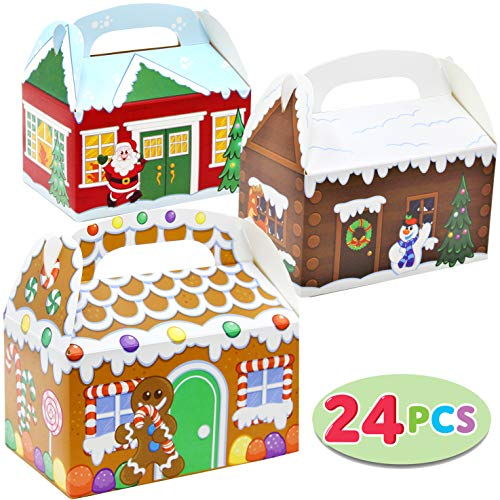 24 Pieces 3D Christmas House Cardboard Treat Boxes for Holiday Xmas Goody Gift Goodie Paper Boxes School Classroom Party Favor Supplies Candy Treat Cardboard Cookie Boxes