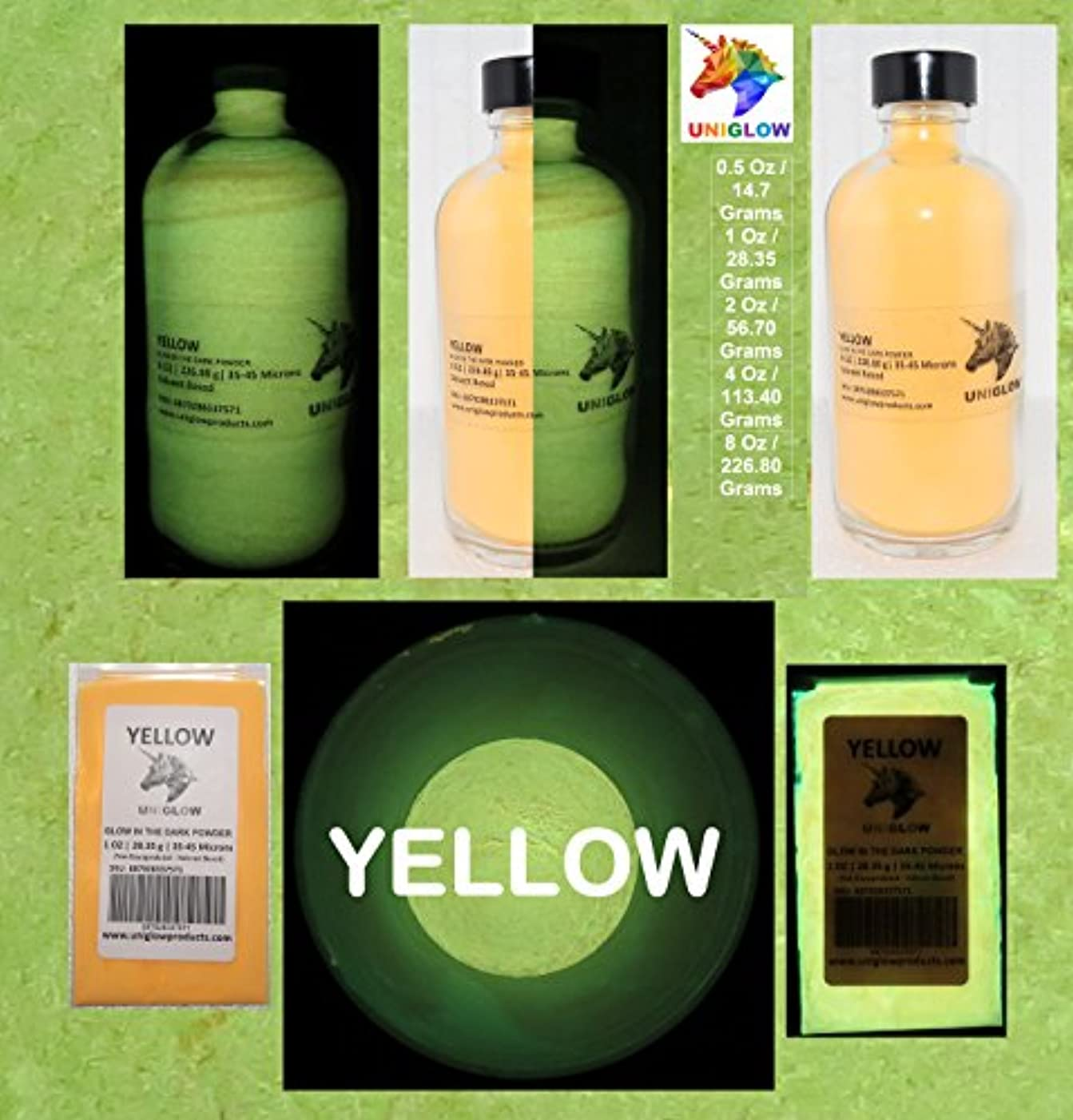 PREMIUM Yellow Glow in the Dark Pigment Powder (2 Oz / 56.70 Grams, Yellow) LONGEST LASTING GLOW POWDER. RECOMMENDED FOR ALL COLORLESS MEDIUM. INK. PAINT. PLASTIC RESIN. GLASS.etc