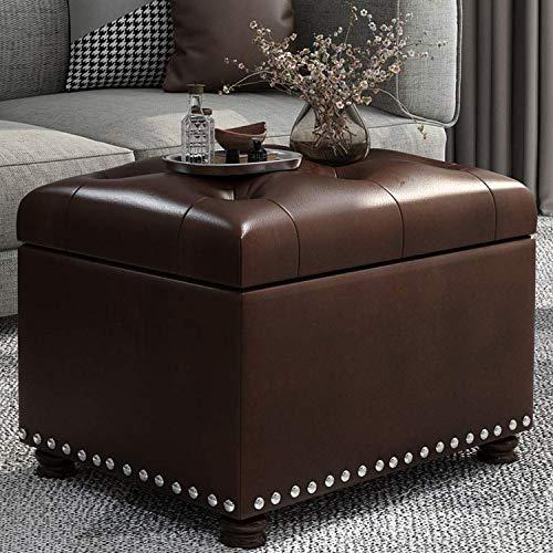Decent Home Leather Storage Ottoman Foot Rest Stool with Nailhead Trim (Dark Brown)