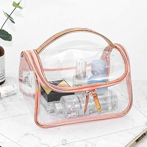 DSJSP Sac Cosmétique Transparent Portable avec Trousse De Toilette Affaires en Plastique Métal Plus Poignée Laser Fermeture À Glissière en Métal Noir Rose Argent Sac cosmétique (Color : Pink)