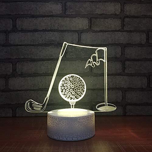 LLZGPZXYD bedlamp, 3D-led, 7 kleuren, kleurverandering, acryl, golfbal, modelbouw, kantoor, lamp, decoratie, kinderen, geschenken, USB, nachtlampje Touch Switch