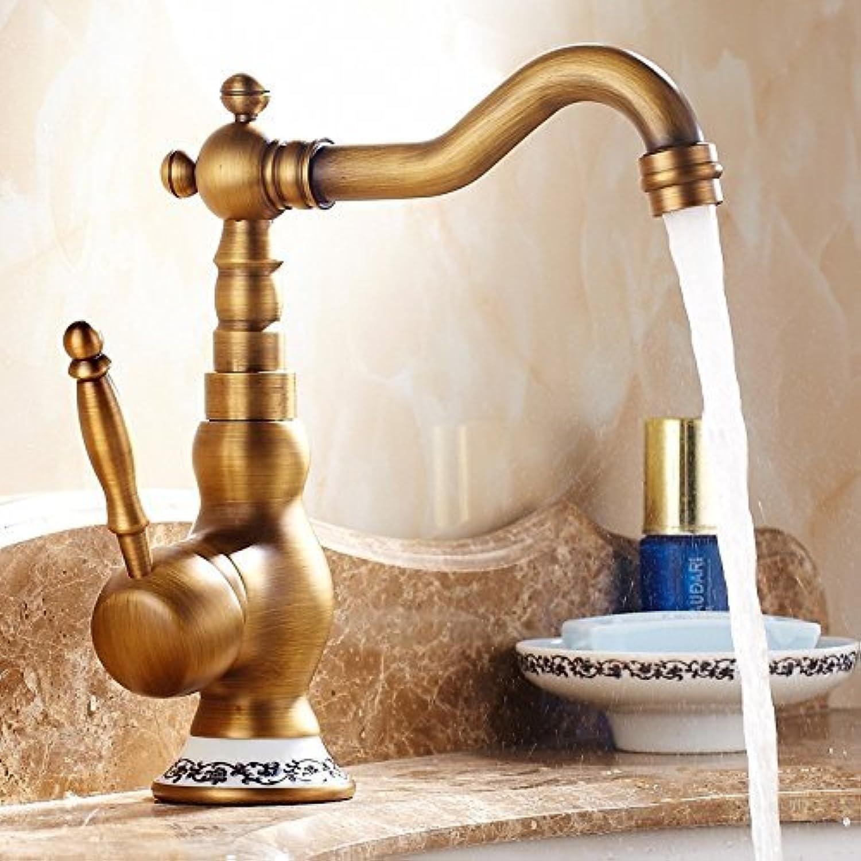 QXHELI Antike Goldene Kupfer kalt warmes Wasser die Wasserhhne Blaue und weie europische Vintage unter dem Wasserhahn einzelne Bohrung gedreht Werden kann, EIN