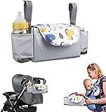 Bolsa Organizadora de Cochecitos para Mamá Bolsa de cochecito de gran capacidad con 2 portabotellas Organizador de cochecito colgante Accesorios para bebés - SVTEOKO (Dinosaurio)