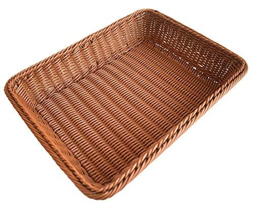Large Wicker Basket, Long Woven Tabletop Food Fruit Vegetables Serving Basket, Restaurant Serving, Made of Poly-wicker 15.7 inch