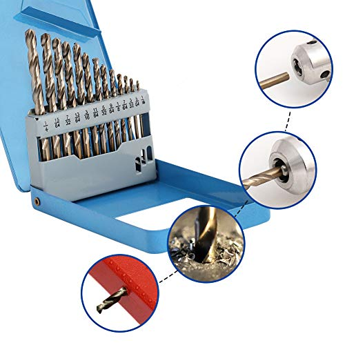 COMOWARE Cobalt Drill Bit Set- 13Pcs M35 High Speed Steel Twist Jobber Length for Hardened Metal, Stainless Steel, Cast Iron and Wood Plastic with Metal Indexed Storage Case, 1/16