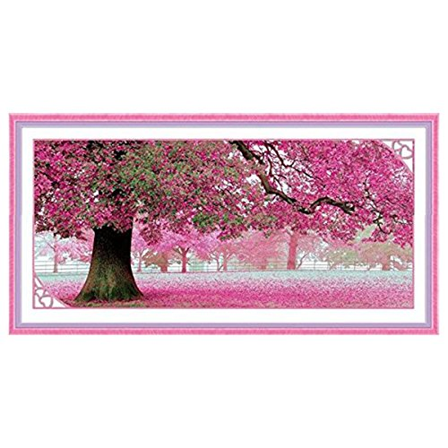 Pixnor 110 x 55cm Sakura Kirschblüte Bäume DIY Cross Stitch Embroidery Kit Home Decor Arts, Crafts Nähen Kreuzstich