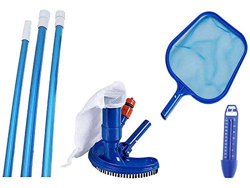 HAFIX Pool Reinigungsset mit Kescher, Thermometer, Teleskopstange und Bürste. 4. teilig Cleaning...
