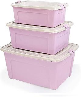 ROSG Boîte de Rangement Lot de 3 boîtes de Rangement avec Couvercle en Plastique (PP recyclé), sans BPA, Anthracite, boîte...