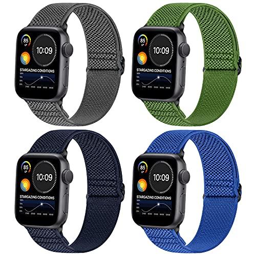 WNIPH - Cinturino in nylon compatibile con Apple Watch da 38 mm, 40 mm, 42 mm, 44 mm, regolabile, per Apple Watch SE/iWatch Series 6 5 4 3 2 1, 38mm/40mm, Resina sintetica,