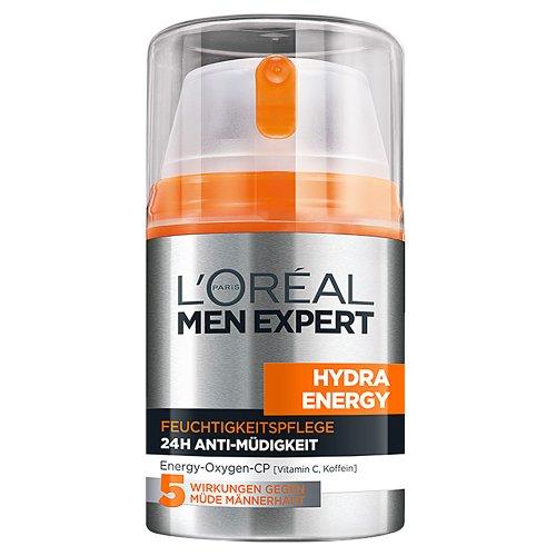 L'Oreal Men Expert Hydra Energy 24H Anti Müdigkeit, Feuchtigkeitspflege für den Mann mit Vitamin C (6 x 50 ml)