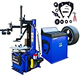 XK USA 1.5 HP Automaticw Tire Machine Tire Changer Wheel Balancers Machine Rim Balan CER Combo 960 680 Rim Clamping 12'-24' w/Auxiliary Arm and Air Bead Blaster Function / 12 Month Warranty