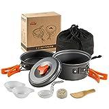 Skysper Batería de Cocina para Camping Set de Cocina para Acampada Aluminio utensilios de cocina al aire libre para camping senderismo