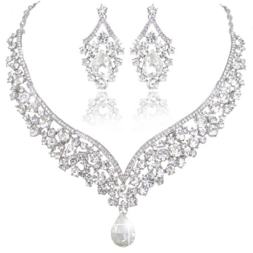 EVER FAITH Capolavori austriaci Cristallo Deco V-Shape Partito Gioielli Set - Clear-Silver-Tone N01911-9