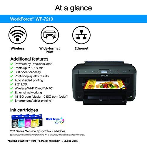 WorkForce WF-7210 Wireless Wide-format Color Inkjet Printer with Wi-Fi Direct and Ethernet, Amazon Dash Replenishment Ready Photo #4