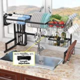 ADBIU Over The Sink Dish Drying Rack (32''≤ Sink Size ≤ 41'') Kitchen Dish Rack and Drainboard Set Stainless Steel Storage Rack (Black, Expandable Length)