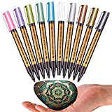 MentorKids 10 Colors Metallic Marker Pens for Rock Painting Medium Point Metallic Color Markers for Ceramic Glass Plastic Scrapbooking