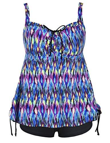 Hilor Women's Retro Drawstring Ruched Halter Floral Tankini Set Two Piece Swimsuit Blue Pop Pattern 24
