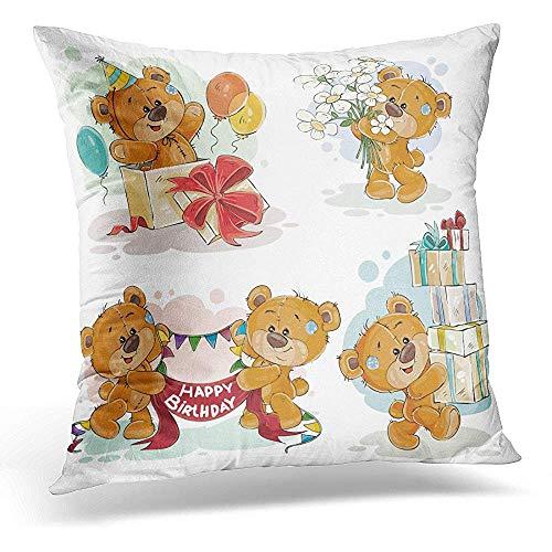 Niet geschikt hoofdkussensloop, bruine liefde voor clip-Illieraties teddybeer wenst je alles goed voor een verjaardag cartoon aantrekkelijk nieuw kussenslopen voor outdoor-binnendecoratie
