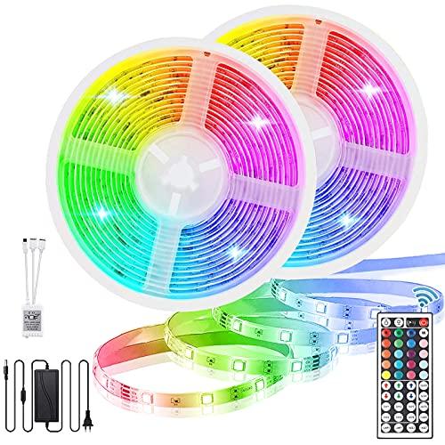 Tira LED RGB 10m, 2x5m Tiras LED 12V 300 LEDs Tira LED...