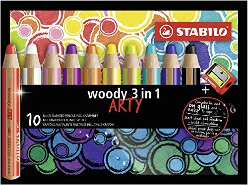 Buntstift, Wasserfarbe und Wachsmalkreide - STABILO woody 3-in-1 - ARTY - 10er Pack - mit 10 verschiedenen Farben und Spitzer
