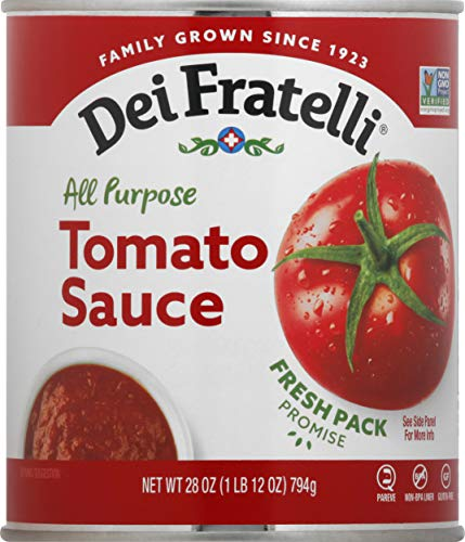 Dei Fratelli Tomato Sauce - All Natural - No Water Added - Never from Tomato Paste - 5th Generation Recipe (28 oz. cans; 12 pack)
