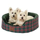 Bunty Heritage Tartan Soft Fur Fleece Dog Bed Washable Pet Basket Mat Cushion - Green - Large