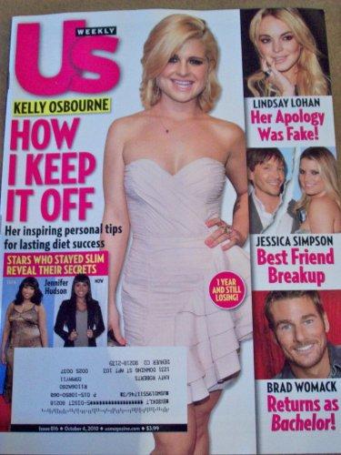 US Weekly October 4, 2010 Kelly Osbourne How I Keep It Off Lindsay Lohan Jessica Simpson Brad Womack Jennifer Hudson