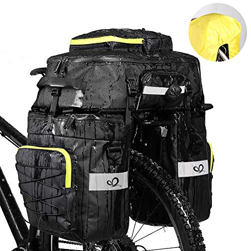 WATERFLY Fahrradtasche 3 in 1 Multifunctionwasserdichte Gepäckträgertasche Radfahren Gepäckträger Tasche Reißfest Groß Fahrrad Tasche mit Regen-Abdeckung