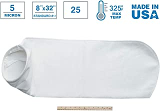 """White Inc Rosedale Products PE-75-P12S Polyester Felt Filter Bag Pack of 50 8/"""" x 34/"""""""