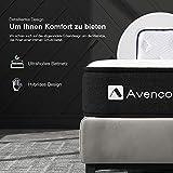 Avenco 5-Zonen Matratze 180x200, Hybrid Federkernmatratze mit Memory-Schaum, Taschenfederkern Matratze 180x200 H3 mit ausgezeichneter Unterstützung, Oeko-TEX, Höhe 18 cm, Weiß - 4