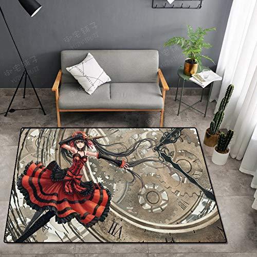 CXJC Modelo personalizable alfombra doméstica, 160 * 100 * 0,6 cm, material de poliéster, seguro y sin sabor, antideslizante y resistente al desgaste, impresión 3D de dibujos animados y patrón de teñi