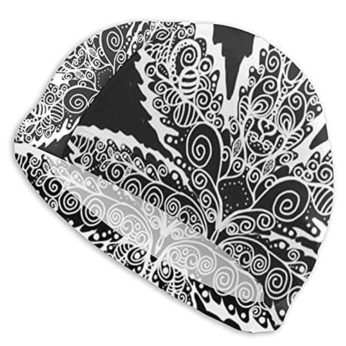 Tcerlcir Gorro Natación Hoja De Marihuanas Mandala Gorro de Piscina para Hombre y Mujer Hecho de Silicona Ideal para Pelo Largo y Corto