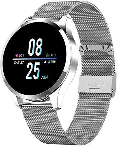 Reloj inteligente de presión arterial, frecuencia cardíaca, monitor de sueño, pulsera impermeable IP67, pulsera de actividad física, reloj de pulsera de acero negro, correa de acero plateada