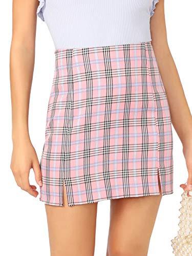WDIRARA Women's Plaid Skirt High Waist Split Front Zip Up Mini Bodycon Skirt Pink S