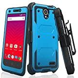 CoverLabUSA Compatible for ZTE Maven 3 Case, ZTE Overture 3 Case [Built In Screen Protector] Full-Body Rugged Holster Case [Belt Swivel Clip][Kickstand] for ZTE Maven 3/ZTE Overture 3, Blue
