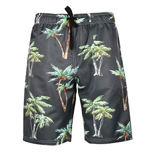 MOTOCO Herren Badehose Sommer Herren Printed Shorts Lässige Shorts Hosen Badehose Kleidung Urlaub Kleidung Strandhosen(3XL,Schwarz)