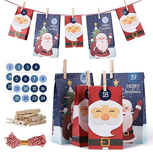 SveBake Adventskalender zum Befüllen Groß 24 Stück - Weihnachtskalender Weihnachtsmann Advents Tüten aus Kraftpapier mit Zahlen, 17 x 30 cm + 12 x 23 cm