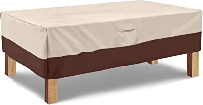 Vailge Rectangular Coffee Table Cover - Outdoor Lawn Patio Furniture Covers with Padded Handles and Durable Hem Cord - Hea...