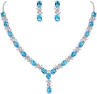 Yazilind Topaz Rainbow Cubic Zirconia Round Crystal Necklace Pendentif Boucles doreilles et Bague Parures de Bijoux pour Femmes