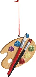 Painters Palette Resin Hanging Christmas Ornament - Size 3 in.