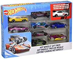 Packs include nine Hot Wheels vehicles In 1:64 scale with authentic styling and one exclusive deco Build an epic collection — get started with the 9-pack or add to the one you have! Makes a great gift for kids and collectors of all ages. Skill Level:...