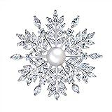 Hanie - Spilla a forma di fiore, in argento, con perle e zirconi bianchi, ideale per un vestito da sera, regalo di alta qualità ideale in inverno