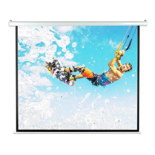 """Pyle 84"""" Portable Motorized Matte White Projector Screen - Automatic Projection Display with Wall/Ceiling Mount, Remote and Case - for Home Movie Theater, Slide/Video Showing - PRJELMT86"""