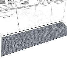 Alfombra de pasillo para cocina, antideslizante, lavable, alfombra de cocina, alfombra de pasillo, alfombra de cocina, alfombra de pasillo de Itaca gris, 200 x 50 cm, hasta 5 m de longitud