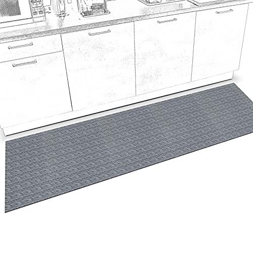 ANRO Alfombra de pasillo para cocina, antideslizante, lavable, alfombra de cocina, alfombra de pasillo, alfombra de cocina, alfombra de pasillo de Itaca gris, 200 x 50 cm, hasta 5 m de longitud