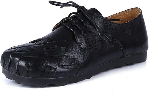 YAN Chaussures de Femmes rétro Chaussures Décontracté Chaussures en en en Cuir Confortables Chaussures de Marche en Plein air Mocassins et Slip-Ons Noir gris Brun,noir,36 2b4