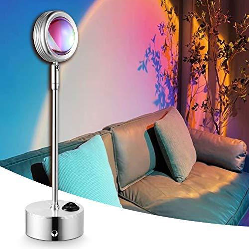 WHATOOK lámpara de proyector arco iris, actualización de la lámpara de proyección de puesta de sol, luz nocturna romántica, luz...