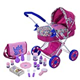 Baby Alive Doll Pram 17 Piece Play Set Includes Matching Diaper Bag, Feeding and...